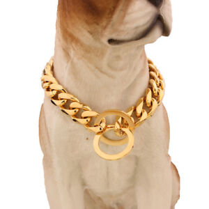 19mm Stainless Steel Silver Gold Flat Link Curb Bulldog Big Dog Chain Collar HOT