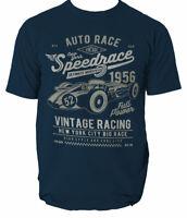 Vintage T Shirt Speedrace Mens Racing Cars Automobile Super Car Auto S-3XL