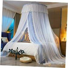 Princess Bed Canopy for Girls,Bed Canopy Curtain-Double Layer Bluegray/White