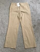 "J JILL Womens Size 10 Tan Beige Cotton Blend Relaxed Pants 31"" Inseam NWT New"
