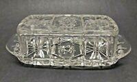 Vintage Clear Cut Glass Crystal Rectangular Lidded Butter Dish