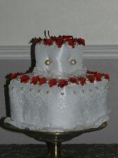 coussin porte alliances style wedding cake roses rouges