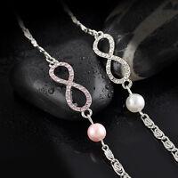 Women Pink Silver Tone Crystal Rhinestone Heart Bangle Fashion Bracelet Gift New