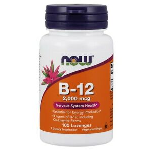 Now Foods Vitamin B-12 2000 mcg - 100 Lozenges FRESH, FREE SHIPPING, MADE IN USA