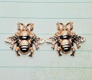 Shiny Rose Gold Bee Stampings (2) - PRGFFA8987