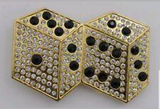 Gold Rhinestones Metal Belt Buckle Lucky Dices Las Vegas Casino Craps R-7