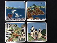 Vtg 4 California Scenic Ceramic Embossed Square Coasters Made In Greece