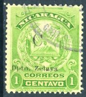 Nicaragua 1909 CABO Overprint on ABNC 1¢ Yellow Green VFU F936