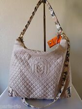 New MARINO ORLANDI Embossed Quilted Pattern Leather Tote, Crossbody Handbag