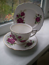 Colclough Roses Tea Cup & Saucer & Side Plate Trio China 2nd Quality British