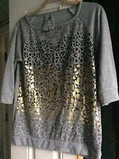 Womens Grey Leopard Print Top Size 10/38