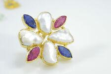 Ottoman Gems semi precious gem stone ring gold Sapphire Ruby Pearl handmade
