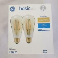 = GE Basic LED 2 Pack Amber White 4W ST19 300 Lumens Vintage Style NEW