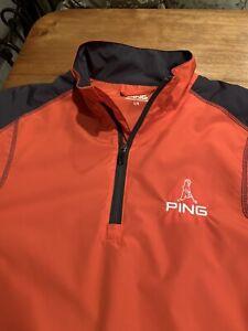 Men's Large Ping Golf Jacket 1/4 Zip Long Sleeve