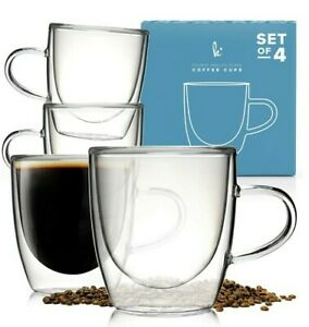 Kitchables 5oz (148ml) Double Walled Glass Coffee Cups Set Of 4 New