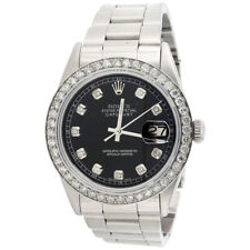 Mens Rolex 36mm DateJust Diamond Watch Oyster Steel Band Custom Black Dial  2 CT. 9cb2bace73