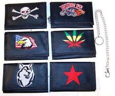 *2 EMBRODERED TRIFOLD BIKER WALLETS W CHAIN mens gifts fashion wallet chains NEW