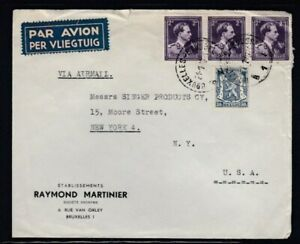 BELGIUM Commercial Cover Brussels to New York City 21-1-1949 Cancel