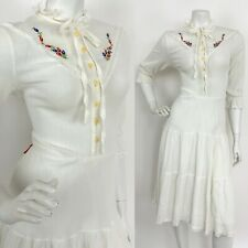 VTG 60s 70s WHITE FLORAL RED BLUE ANGLAISE LACE RUFFLE PRAIRIE FOLK DRESS 12 14