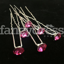 6pcs Diamante Crystal Pink Large Gems Hair Pins Grips Bridal Wedding Prom NEW