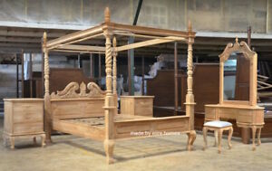 TEAK Wood french Queen Anne style Four poster bed set himmelbett bedroom set