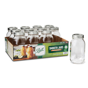 ✔️Ball Glass Mason Jars with Lid & Band Smooth Sided Regular Mouth 32oz 12 Count
