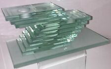 """Vintage Stacked Glass Candle Holder Green Clear Sculpture 8"""" x 4"""" x 3.5""""  B2"""