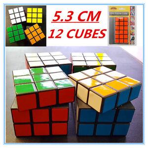 12 x Colourful Puzzle Magic Cube 5.3CM 3X3 Birthday Gift Kid Adult Fun Twist Toy