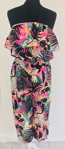 River Island med bright neon 80's pure silk harem halter neck jumpsuit defects