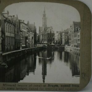 Antique Stereoview, Realistic Travels, Canal at Bruges, Belgium.