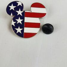 Disney Trading Pin Patriotic Mickey Mouse Head American Flag 2002 Collectible