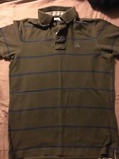 Vintage Ruehl Olive Green And Blue Striped Polo Size Medium