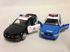 "2 pcs Police Car Mustang GT Crown Victoria 5"" Diecast PullBack Kinsmart Toy BKBL"