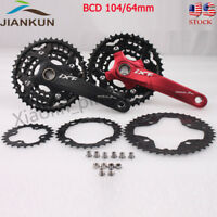 MTB Bike Crankset BCD 104/64mm 24/32/42T Chainring 3x10S Triple Speed with BB
