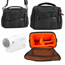 Black / Orange Water-Resistant Carry Bag for Sony FDR-X3000R Action Camera