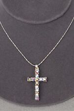 "Cross Necklace with Iridescent Rainbow Rhinestones - Size 1"" long X 1.75"" wide"