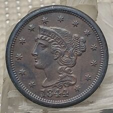 1844 Braided Hair Large Cent 1¢ Copper Coin Strong Unc Details