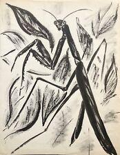 Mante religieuse encre signée Elsa Desportes peintre animalier Poisson cir 1960