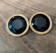 Ellen Designs Vintage Gold Plated Black Cabochon Large Clip-On Earrings Round FS