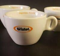Set of 5  Bristot 1919 Coffee Cup Mug Heavy White Porcelain Club House Espresso