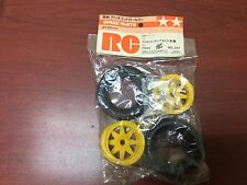 Vintage Original 1986 Tamiya FALCON Striker 5287 Front 2WD Ribbed Tire Wheel Set