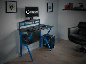 Virtuoso Black Gaming Computer Desk Table Blue Headphones Holder