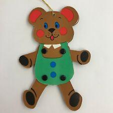 Vintage Made in Japan Christmas Ornament Jointed Flat Cardboard Teddy Bear