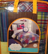 Frank And Lulu Preppy Plaid Twin - Two Piece Comforter Set Red Blue Boys New
