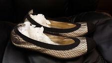 **BRAND New CHANEL Black Lace Leather CC Cap Toe Ballerina Ballet Flats 39.5 8.5