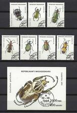 Insects Madagascar complete set and block correspondent obliterated (4)