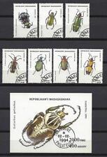 Insectes Madagascar série complète et bloc correspondant oblitérés (4)