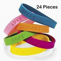 24 Rubber Silicone Bracelets With Sayings 8 Inches Wristband Assorted Colors