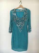 BlackTie Oleg Cassini | Vintage 1980s turquoise beaded sequinned cocktail dress