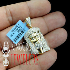 Real 10k 100% Yellow Gold .40ctw Genuine Diamond Jesus Head Face Charm Pendant